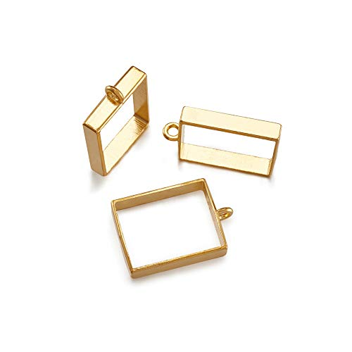 (Beadthoven 10pcs Golden Square Alloy Open Back Bezel Big Charms Pendants Frame Pendants Hollow Mold Pendants Hollow Pressed Flower Frame Pendant for DIY Crafts Projects, 29x20x5mm, Hole: 2.2mm)
