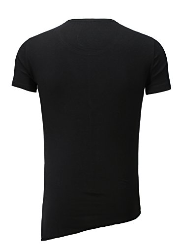 Key Largo Hombres T-shirt NIKLAS Oversize Sección Costuras decorativas Basic Inconformista / sofisticada Sommershirt Asimétrica De cuello redondo Negro