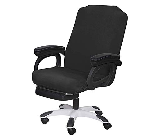 SARAFLORA Office Chair Covers Stretch Washable Computer Chair Slipcovers for Universal Rotating Boss Chair Large Size Black