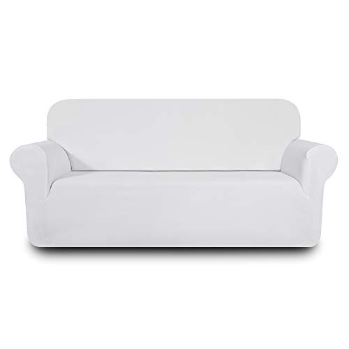 (Hanhao Sofa Loveseat Covers for Living Room, Fitted Slip Cover for Couch, 1 Piece Durable Stretch Slipcover, Anti Slip Furniture Protector (Loveseat, Stone White))