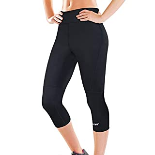 Women Slimming Sweat Long Pants Sauna Hot Burn Fat Yoga Legging Body Shaper for Weight Loss (Black Sauna Pants, L)