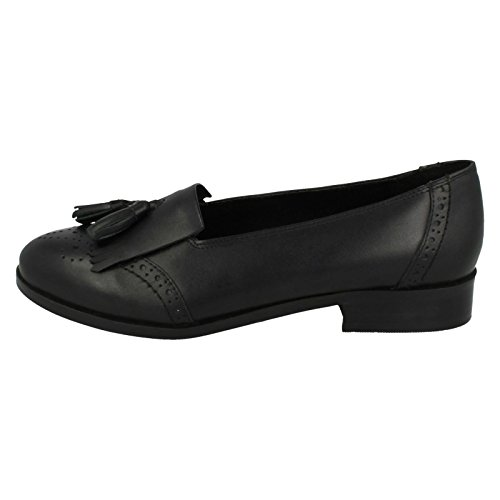 Ladies Leather Collection Slip On Loafers F80181 Black oTAnHhPR1o