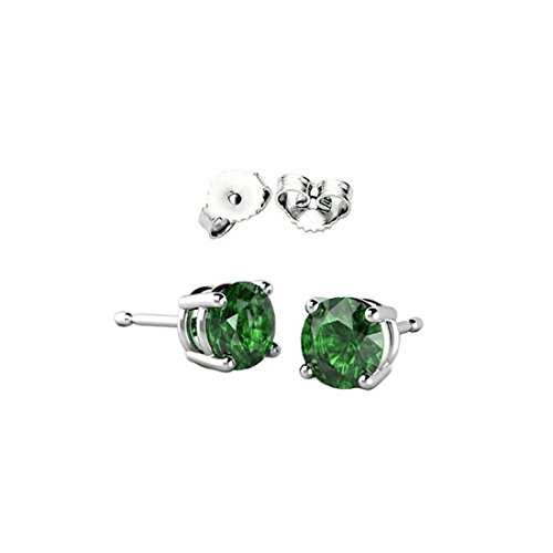 Solitaire Stud Post Earring Round Simulated Green Emerald CZ 925 Sterling -