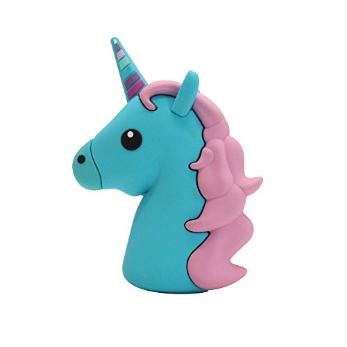 New 2600mah Blue Unicorn Shaped Emoji Cute Funny Cartoon Gift Power Bank External Battery Portable Mobile Phone Charger For Iphone Ipad Samsung Galaxy Note All Tabletes … …