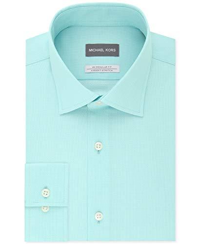 Michael Kors Men's Regular Fit Airsoft Stretch Non-Iron Performance Solid Dress Shirt Mint 15 32-33