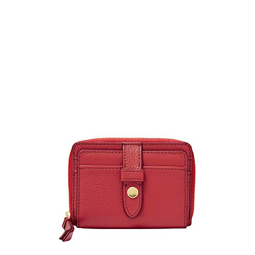 Fossil Red Leather - Fossil Fiona Zip Coin Poppy Red, One Size