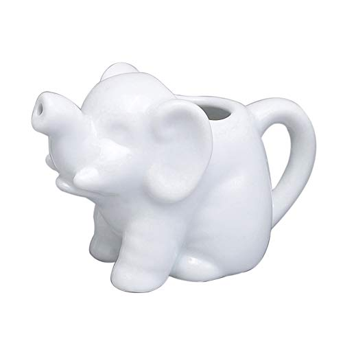 (HIC Harold Import Co. NT1096 HIC Mini Elephant Creamer Coffee Tea Milk Syrup Dressing Server with Handle, Fine White Porcelain, 2-Ounces,)