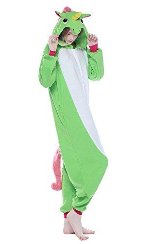 NEWCOSPLAY Adult Unisex Unicorn Onesies Pajamas Kigurumi Halloween Cosplay Costume(XL, Light Green) ()