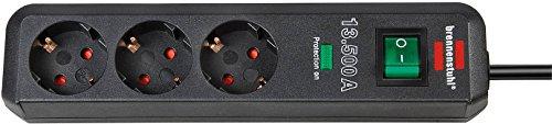 Brennenstuhl Eco-Line Überspannungsschutz-Steckdosenleiste 3-fach anthrazit mit Schalter, 1158810315