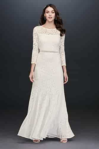 b4ed25ca David's Bridal Long Sleeve Lace and Sequin Sheath with Godets Style 649793D