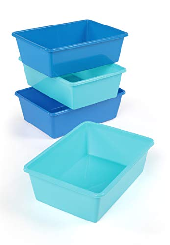 Tot Tutors XL104 Large Plastic Storage Bins, Set of 4, Light Blue