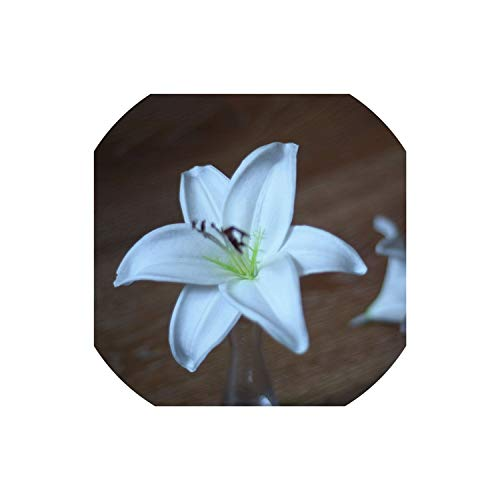 Light Coral Artificial Tiger Lily Heads Wedding Natural Real Touch Flowers Flower Heads for Cake Decoration and Wedding Bouquets,White