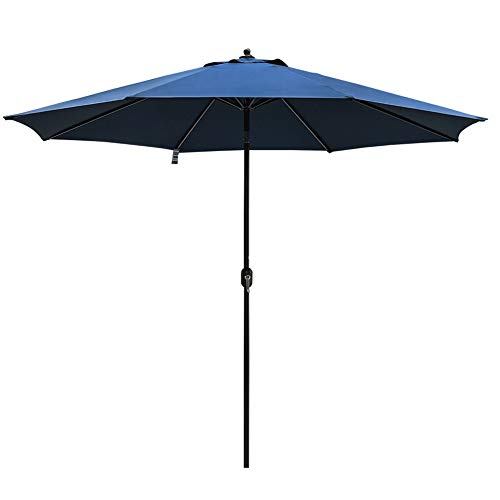 Sundale Outdoor 11 ft Aluminum Patio Umbrella Table Market Umbrella with Crank and Push Button Tilt for Graden, Deck, Backyard, Pool, 8 Steel Ribs, Polyester Canopy (Navy Blue) -