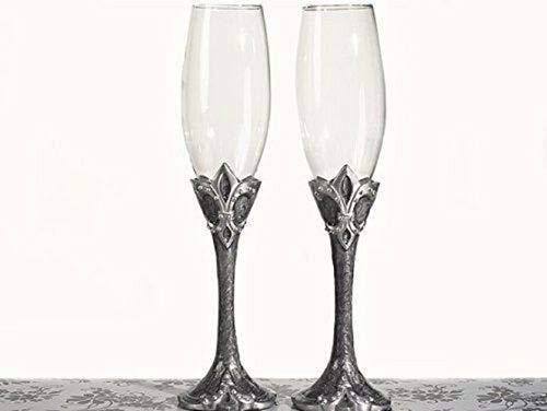 Set Wedding Toasting Flutes Platinum Fleur De Lis Toasting Glasses Party Supplies tokocanna