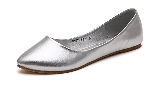 (IF FEEL Women's Leather Silver Casual Pointy Toe Soft Solids Ballet Walking Flats Shoes - Size 7)