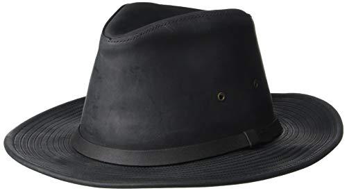 Henschel Full Grain Oiled Leather Safari Hat, Black, Large