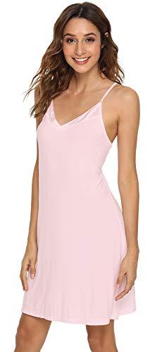 NEIWAI Women's Basic Spaghetti Strap Cami Slip Camisole Mini Sleep Dress Pink -