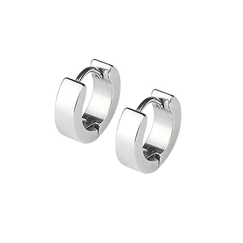 Adecco LLC Men Women 316L Stainless Steel Unique Small Hoop Earrings Huggie Ear Piercings Hypoallergenic (silver)