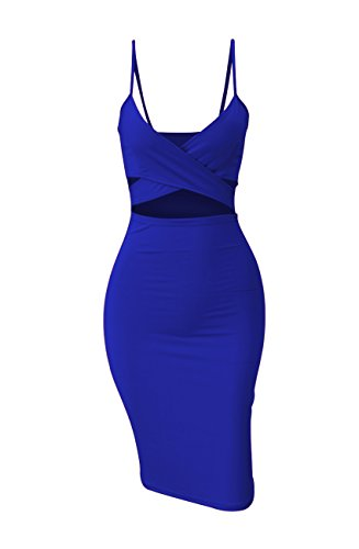 - Doramode Sexy Strap Backless Cut-Out Bandage Bodycon Clubwear Midi Dress For Women, Royal Blue, Small