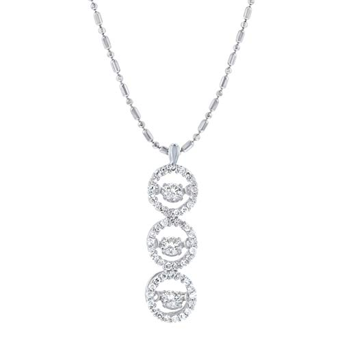Olivia Paris 14K Gold 1/2 Carat (ctw) Dancing Diamond 3 Stone Pendant Necklace (H-I, SI2-I1), 18