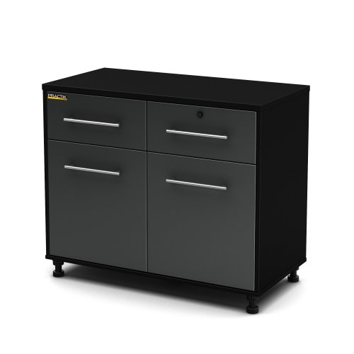 South Shore Karbon Collection Base Storage Cabinet, Pure Black/ Charcoal by South Shore