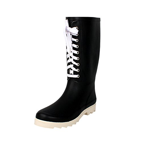 West Blvd Rainboots Rain-Boots, Black White Lace Rubber, 9
