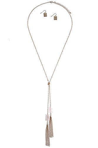 BAUBLES & CO SEMI PRECIOUS STONE TASSLE ACCENT LARIAT NECKLACE SET (Lt (Precious Accents Toggle Clasps)