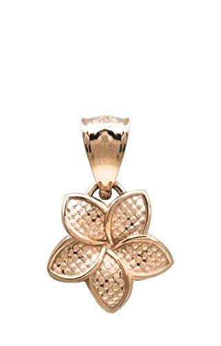 14K Rose Gold Plumeria Flower 9mm Necklace Pendant