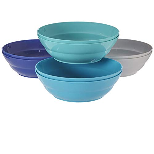 Sonoma 28-ounce Plastic Bowls for Cereal or Salad | set of 8 in 4 Coastal Colors