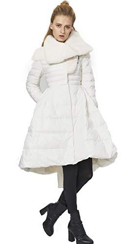XAJHL Princess Dressdown Jacket for Women Fur Collar Pleated Creative Court Lady Warm Winter Down Coat,Cwhite,M from XAJHL