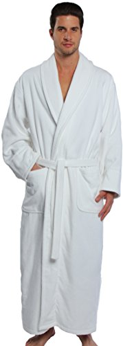 TurkishTowels Parador Big and Tall Terry Velour Bathrobe, 100% Combed Pure Cotton, Made In Turkey (XL, White) Tall Terry Cloth Robes