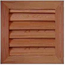 "GC1818 Cedar Wood Gable Vent ~ Louver box 17.5 x 17.5 ~ Overall 21.5"" x 21.5"" ~ Kimball Designs Sanded Smooth Functional Ventilation"