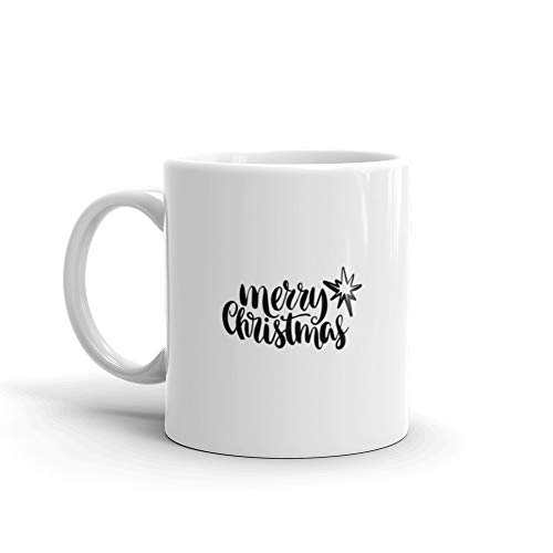 Merry Christmas Quote Text Greeting s Photo Overlays Prints s Hand Drawn Lettering Milk Mug 11 Oz Ceramic