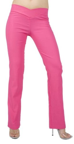 Sexy Chic Stretch Skinny Pant with Flirty V-Waistline from Hot Fash Pants - SIENNA Fuchsia