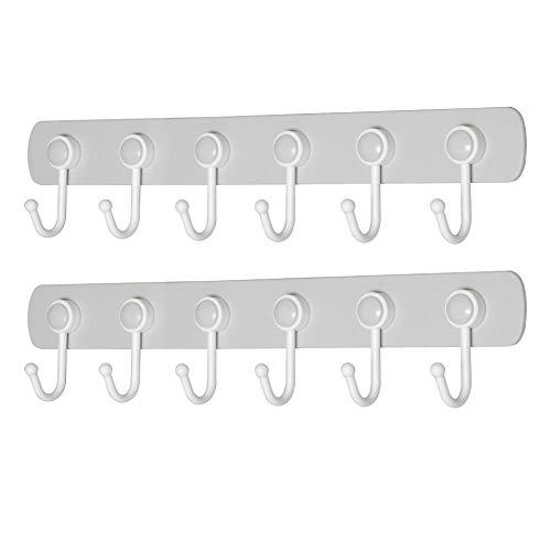 (WEBI Wall Hooks Adhesive: 360°Rotatable, Ultra-Stick, Heavy Duty, Waterproof, 6-J-Hook, Plastic Utility Hook, Wall Hanger Rack Holder for Coat Towel Hats Keys Scarf Purse Kitchen Utensil - Grey,2 Pcs)