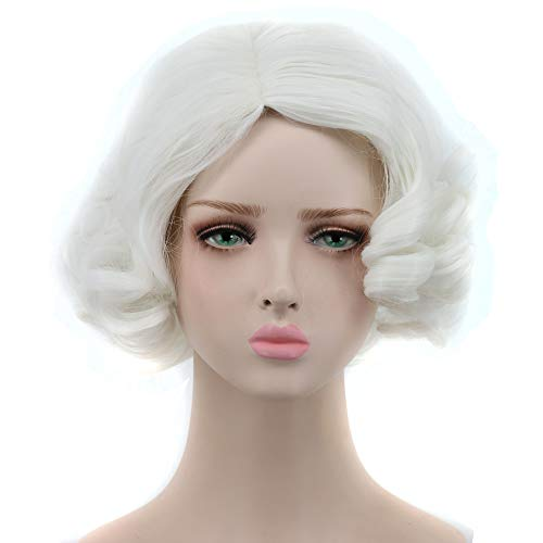 Yuehong White Wig Short Curly Wigs Synthetic Cosplay Wig Halloween Costume