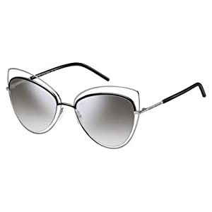Marc Jacobs Womens MARC8S Cateye Sunglasses, Ruthenium Black/Gray SF Silver SP, 56 mm