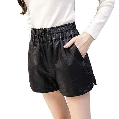 d9204f2aa Amazon.com: Lessonmart Black Casual Faux Leather Shorts Women Plus ...
