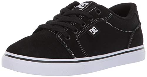 DC Boys' Anvil Skate Shoe, WHITE/BLACK/BLACK, 4.5 M US Big Kid