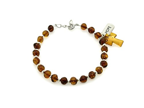 Genuine Cognac Amber Strand Bracelet with Amber Cross and Hope Lucky - Glass Bracelet Amber