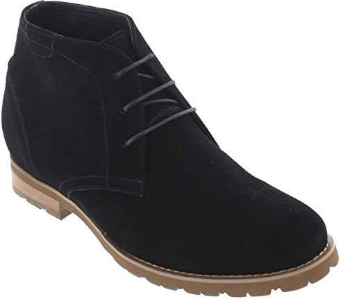 CALTO G65031-3 Inches Elevator Height Increase Slip On Nubuck Black Loafers
