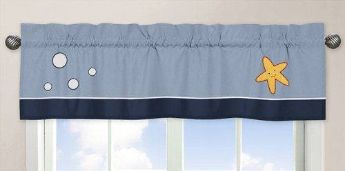 Bubbles Valance (Sweet Jojo Designs Starfish Bubbles Sea Life Window Treatment Valance for Ocean Blue Bedding Collection)