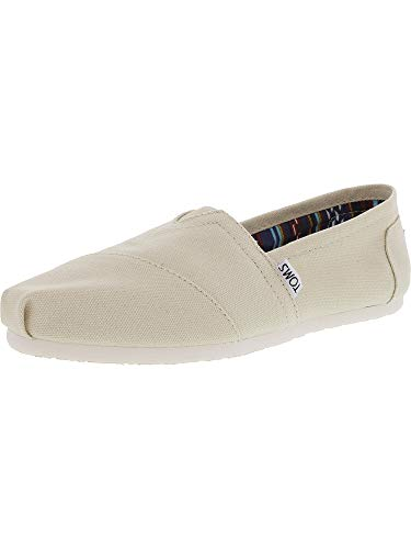 TOMS Womens Classic Canvas Natural Canvas Ankle-High Canvas Flat Shoe - -