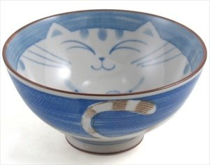 JapanBargain Smiling Blue Cat Porcelain Rice Bowl 4-1/2-inch
