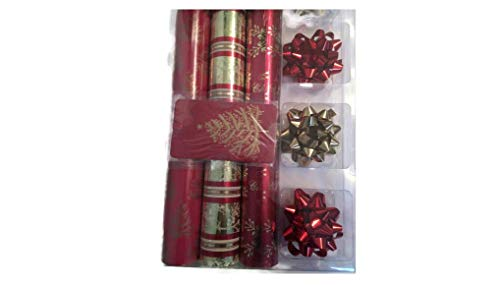 Gift Wrap Ensemble - Christmas Gift Wrap Ensemble with Wrapping Paper, Bows, and Tags