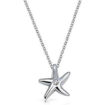 Silverly Womens .925 Sterling Silver Oxidised Starfish Pendant Necklace 46 cm