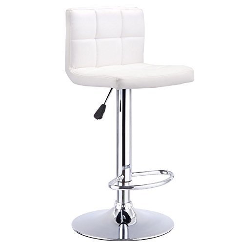 Costway Swivel Bar Stool Adjustable PU Leather Barstools Bistro Pub Chair Counter Barstool (White) - Swivel Stool Stainless Steel Backrest