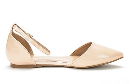 Droom Paren Vrouwen Flapointed-nieuwe Dorsay Ballet Flats Schoenen Naakt Pat