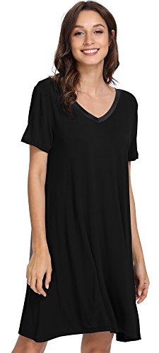 GYS Women's Short Sleeve Nightshirt V Neck Bamboo Nightgown, Large, Black