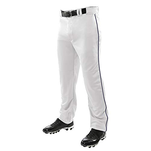 CHAMPRO Sports Adult Triple Crown Open Bottom Piped Pants, White, Navy, Medium